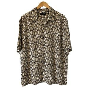 Fusione Mens Button Up Shirt Brown Short Sleeve L